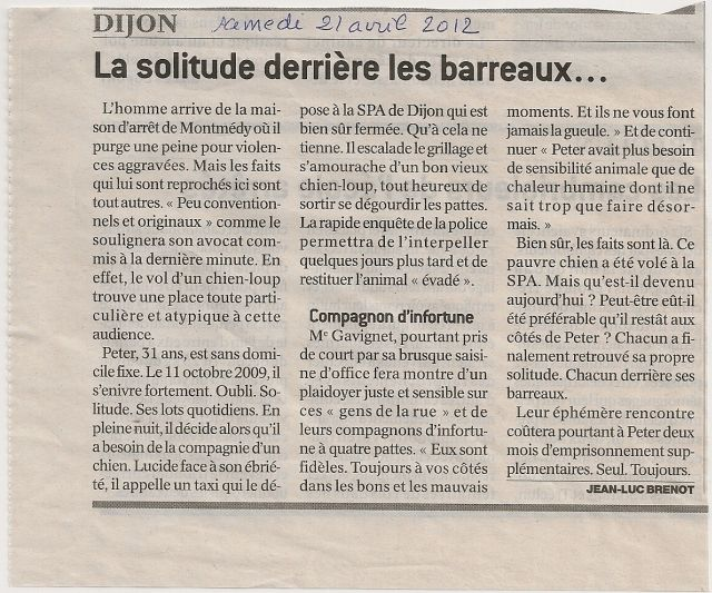 Article du Bien Public concernant la SPA des Cailloux